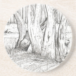 Gum trees along the riverbank black ink drawing drink coaster