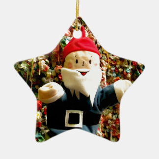 Gum Wall Gnome I Double-Sided Star Ceramic Christmas Ornament
