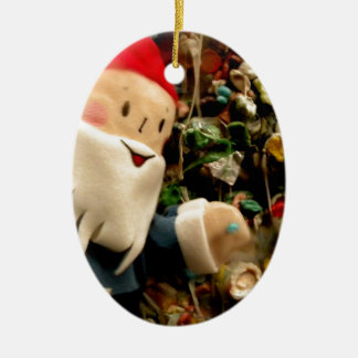 Gum Wall Gnome III Double-Sided Oval Ceramic Christmas Ornament