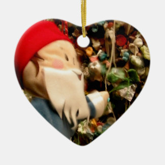 Gum Wall Gnome IV Double-Sided Heart Ceramic Christmas Ornament