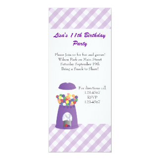 Gumball Machine and Hearts 4x9.25 Paper Invitation Card