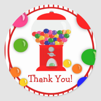 Gumball Machine Birthday Party Thank You Stickers