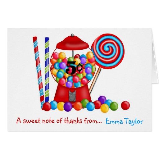 Gumball Machine Candy Lollipop Card