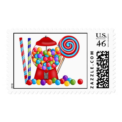 Gumball Machine Candy Lollipop Postage Stamps