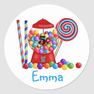 Gumball Machine Candy Lollipop Sticker