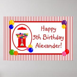 Gumball Machine Happy Birthday Banner Poster