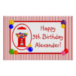 Gumball Machine Happy Birthday Banner Poster