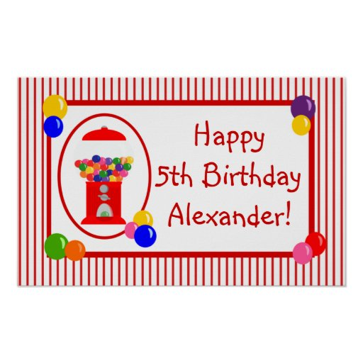 Gumball Machine Happy Birthday Banner Poster | Zazzle.com