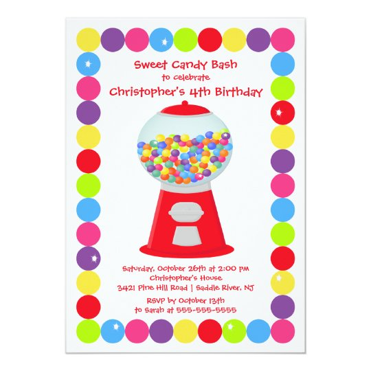 Gumballs Candy Bash Birthday Party Invitation