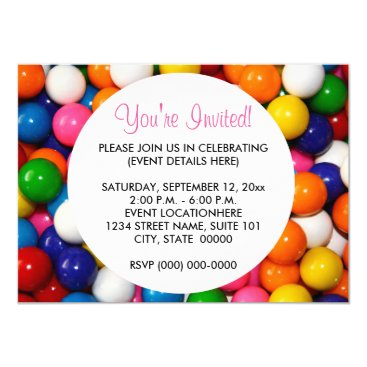 Toddler & Baby themed Gumballs Invitations