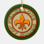 Gumbo de neón personalizado del amor de la paz de adorno navideño redondo de cerámica