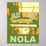 Gumbo del jazz de New Orleans Nola Poster