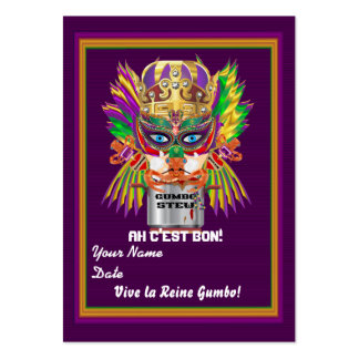 Gumbo Queen Mardi Gras Throw View Hints Large Business Cards (Pack Of 100)