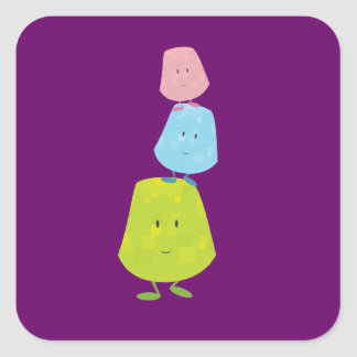 Gumdrop characters balancing on each other square sticker