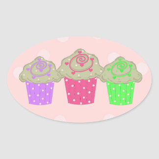Gumdrop Cupcakes Oval Sticker