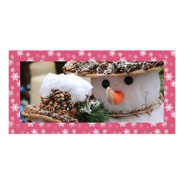 Disney Themed Gumdrop Pink and White Snow Flurries Custom Card