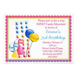 Gumdrops and Candy Buttons Invitation- Hot Colors