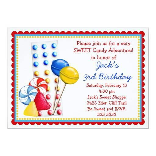 "Gumdrops and Candy Buttons Invitation- Primary 5"" X 7"" Invitation Card"