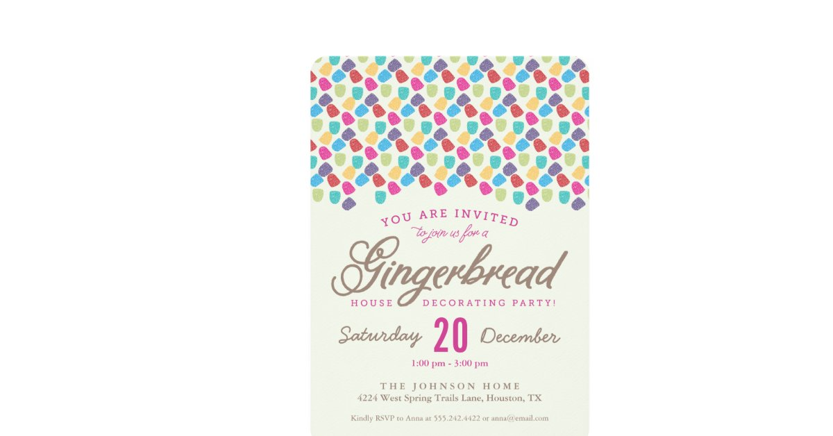 Gumdrops gingerbread house decorating party 5x7 paper Gingerbread house decorating party invitations