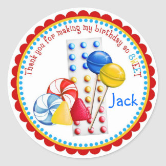 Gumdrops, Lollipops and Candy Buttons Classic Round Sticker