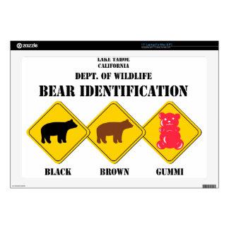 """Gummi Bear Warning - Tahoe Wildlife Decal For 17"""" Laptop"""