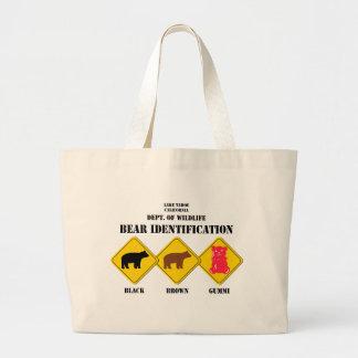 Gummi Bear Warning - Tahoe Wildlife Large Tote Bag