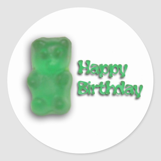 Gummy Bear Birthday Classic Round Sticker