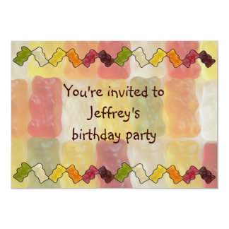 "gummy bear chevron 5"" x 7"" invitation card"