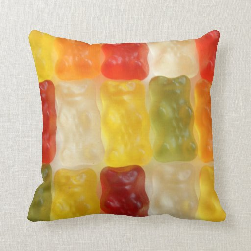 gummy bear dreams throw pillows