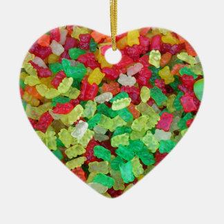 Gummy Bear Double-Sided Heart Ceramic Christmas Ornament