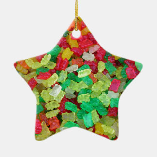 Gummy Bear Double-Sided Star Ceramic Christmas Ornament