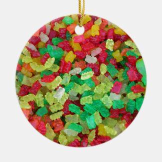 Gummy Bear Double-Sided Ceramic Round Christmas Ornament