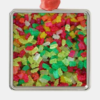 Gummy Bear Square Metal Christmas Ornament