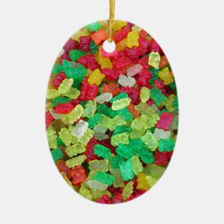 Gummy Bear Double-Sided Oval Ceramic Christmas Ornament