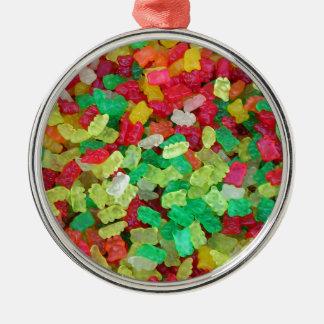 Gummy Bear Round Metal Christmas Ornament