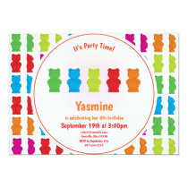 Gummy Bear Pattern Kid's Birthday Invitation