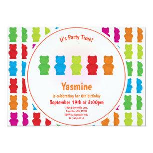 Candy birthday invitations zazzle gummy bear pattern kids birthday invitation filmwisefo
