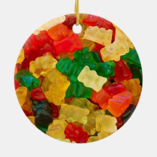 Gummy Bear Rainbow Colored Candy Ceramic Ornament