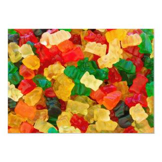 "Gummy Bear Rainbow Colored Candy 5"" X 7"" Invitation Card"