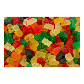 Gummy Bear Rainbow Colored Candy Poster