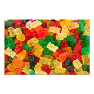 Gummy Bear Rainbow Colored Candy Stationery Design
