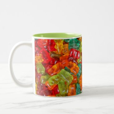 Coffee Themed Gummy bears 2 tone mug