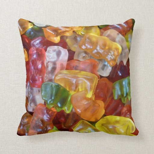 Gummy Bears Background Throw Pillow