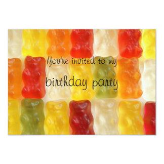 "gummy bears birthday party 5"" x 7"" invitation card"