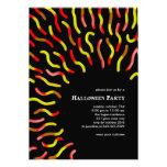 Gummy Worm Black Halloween Invitations