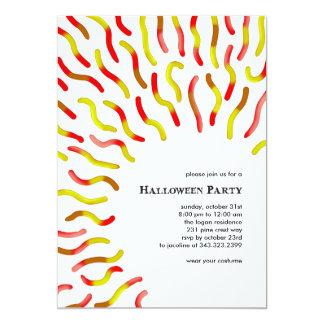 Gummy Worm White Halloween Invitations