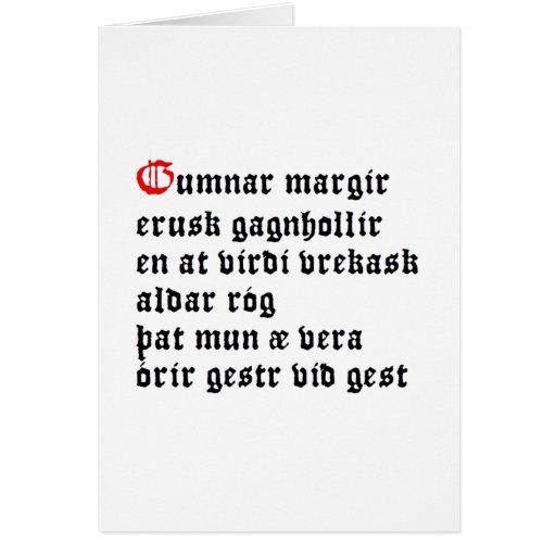 Gumnar Margir (Hávamál, estrofa 32) Tarjeton