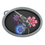 gun and flowers oval belt buckle