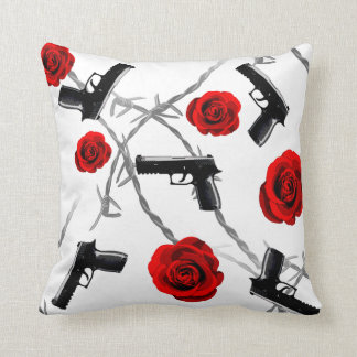 Gun Barbed Wire Red Rose Love Is War Strong Throw Pillow
