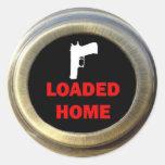 Gun Bearing Home Security Round Stickers